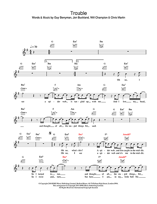 Trouble sheet music