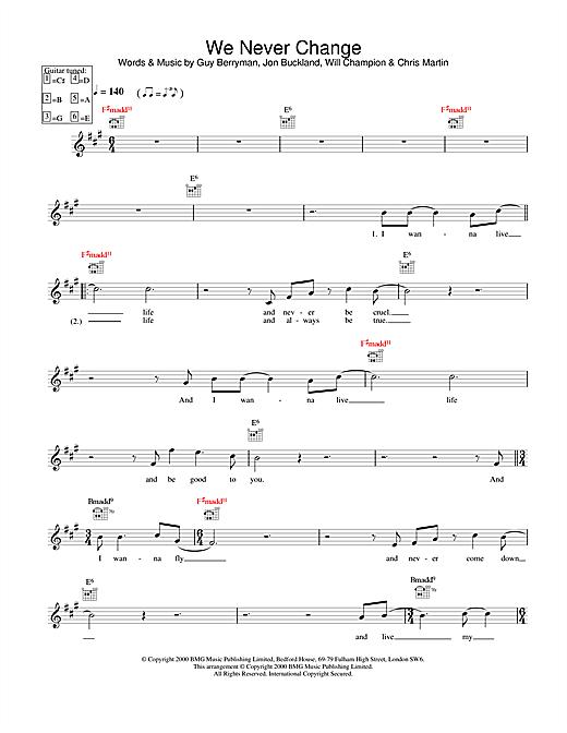 We Never Change sheet music