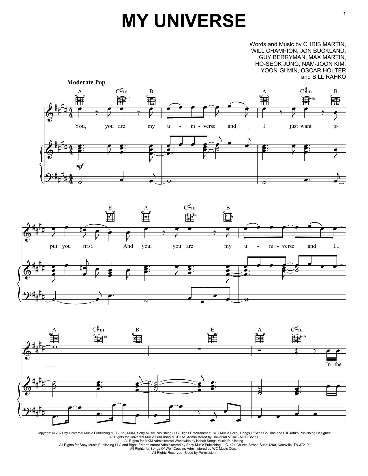 My Universe sheet music