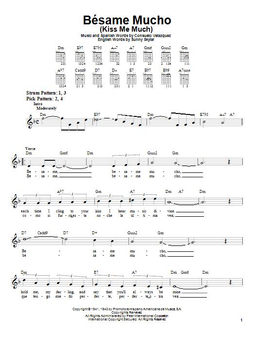 Besame Mucho (Kiss Me Much) sheet music