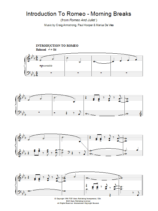 Introduction To Romeo - Morning Breaks (from Romeo And Juliet) sheet music