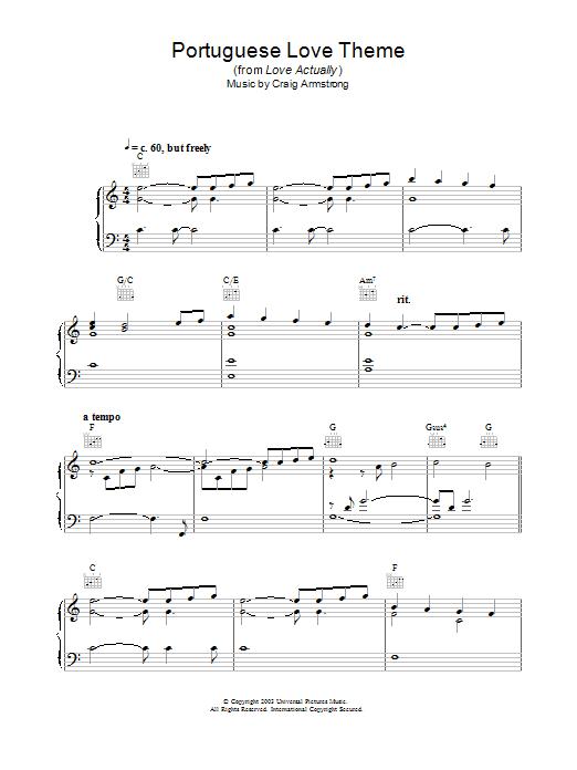 Portuguese Love Theme sheet music