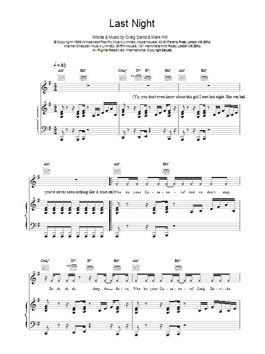 Last Night sheet music