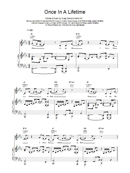 Once In A Lifetime sheet music