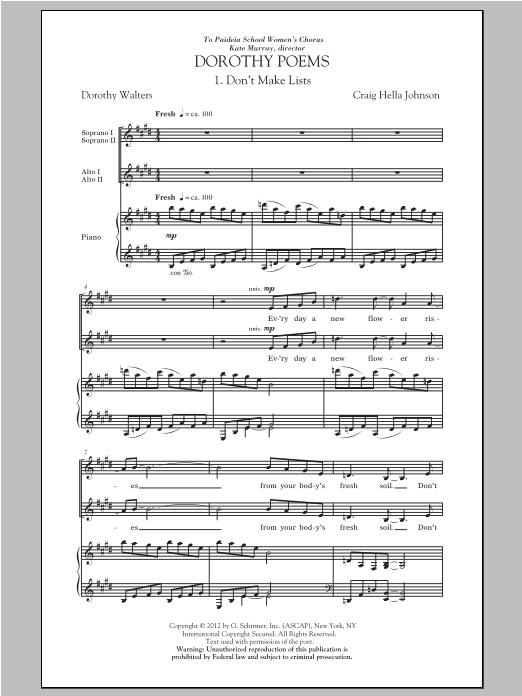 Don't Make Lists sheet music