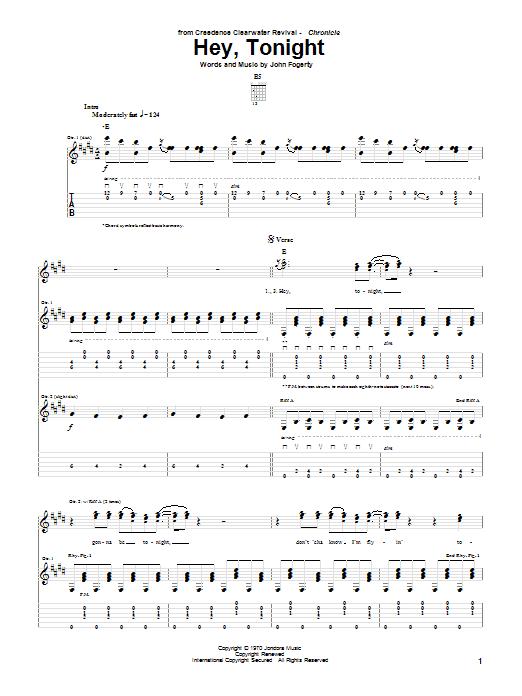 Hey, Tonight sheet music