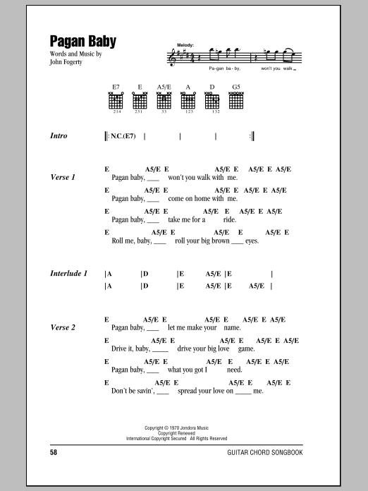 Pagan Baby sheet music