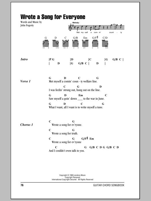 Wrote A Song For Everyone sheet music