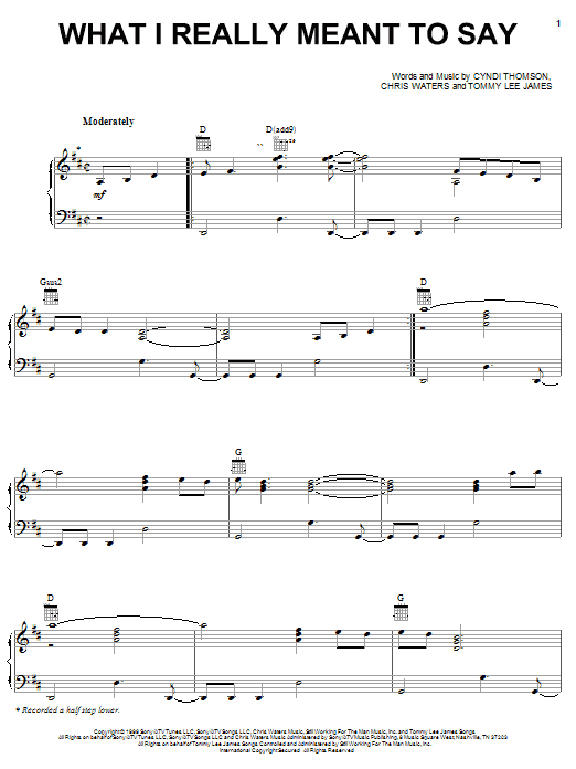 What I Really Meant To Say sheet music
