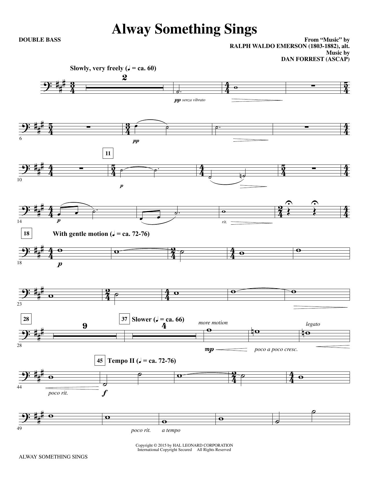 Alway Something Sings - Double Bass sheet music