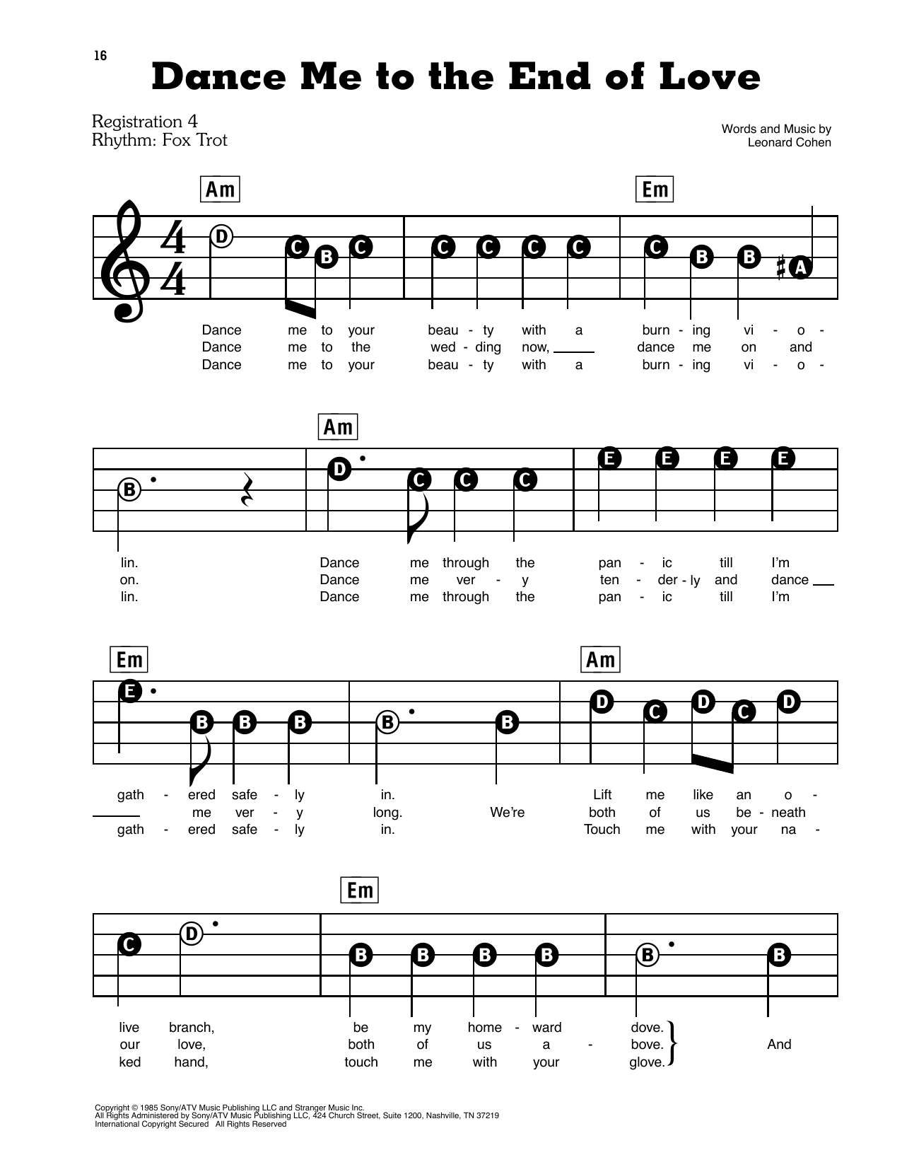 Game Of Love Sheets leonard cohen 'dance me to the end of love' sheet music notes, chords |  download printable e-z play today - sku: 425916