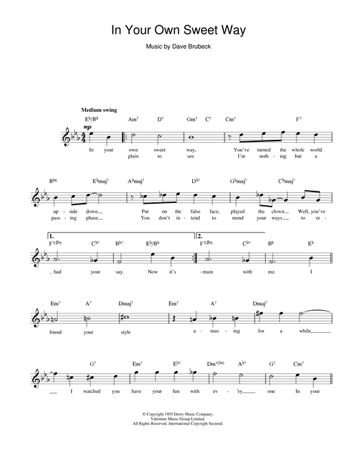 In Your Own Sweet Way sheet music