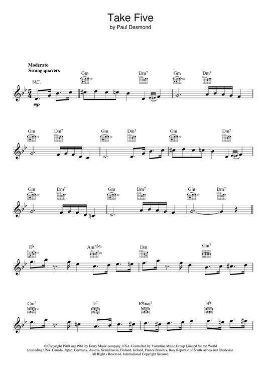 Take Five sheet music