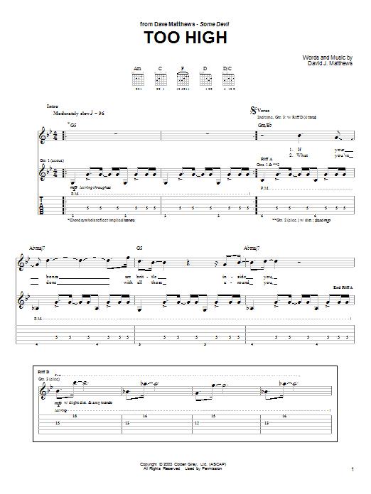 Too High sheet music