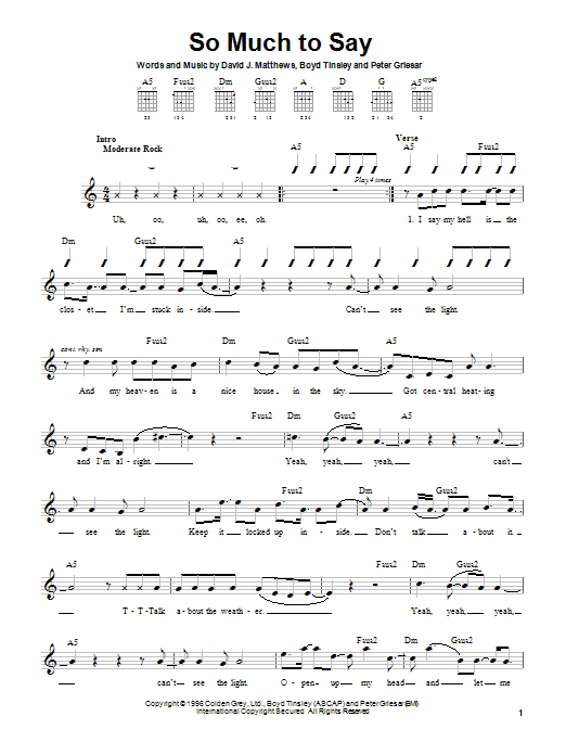 So Much To Say sheet music