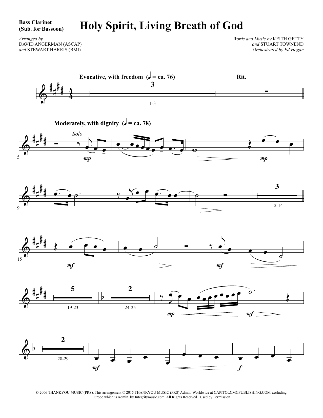 Holy Spirit, Living Breath of God - Bass Clarinet (sub. Bassoon) sheet music