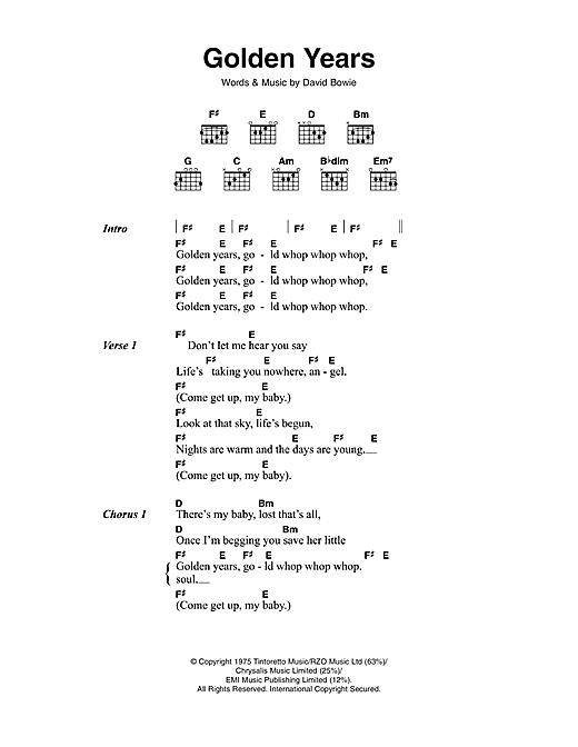 Golden Years sheet music