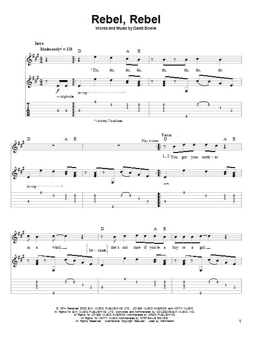 Rebel, Rebel sheet music