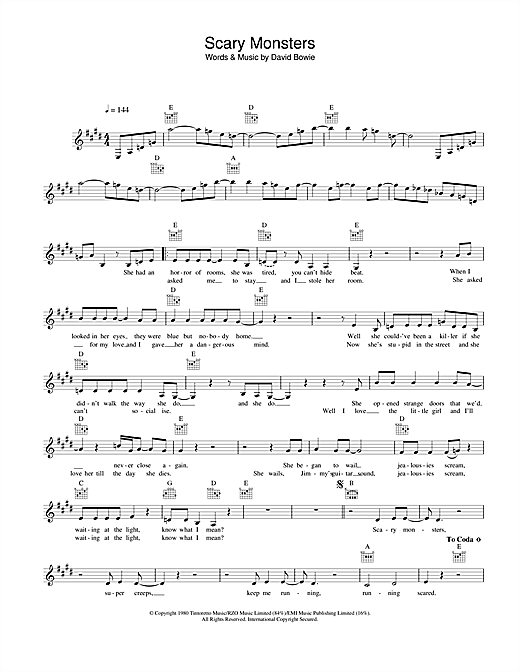 Scary Monsters sheet music