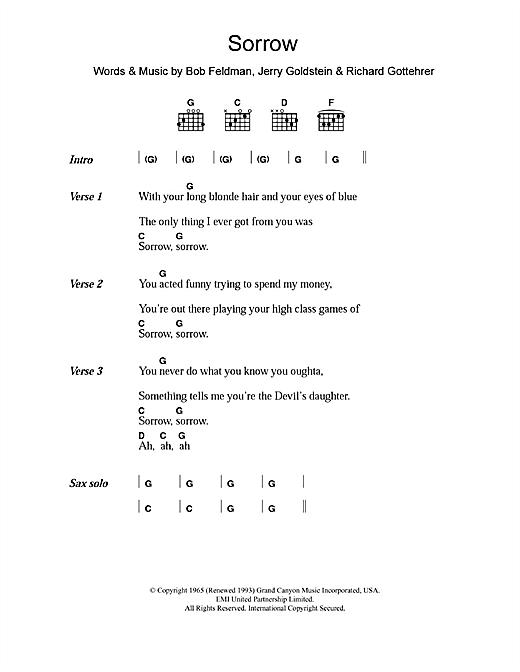Sorrow sheet music