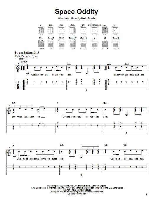 Space Oddity sheet music