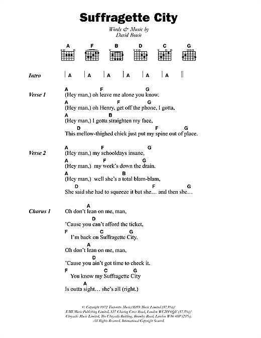 Suffragette City sheet music
