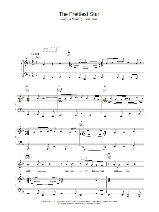 The Prettiest Star sheet music