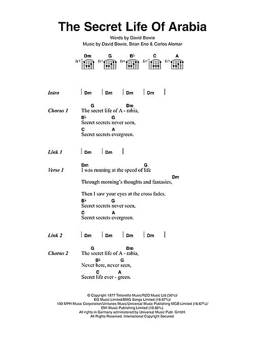 The Secret Life Of Arabia sheet music