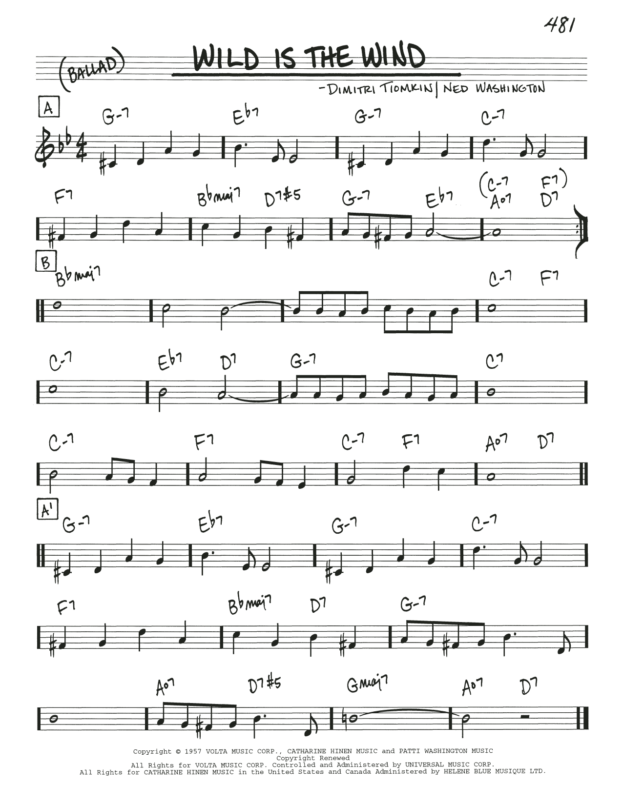 Wild Is The Wind sheet music