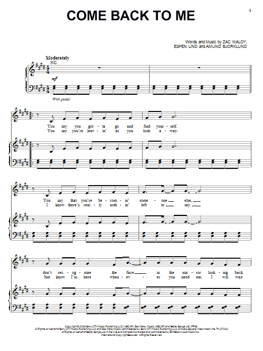 Come Back To Me sheet music