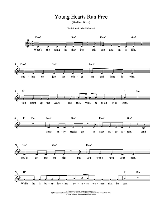 Young Hearts Run Free sheet music