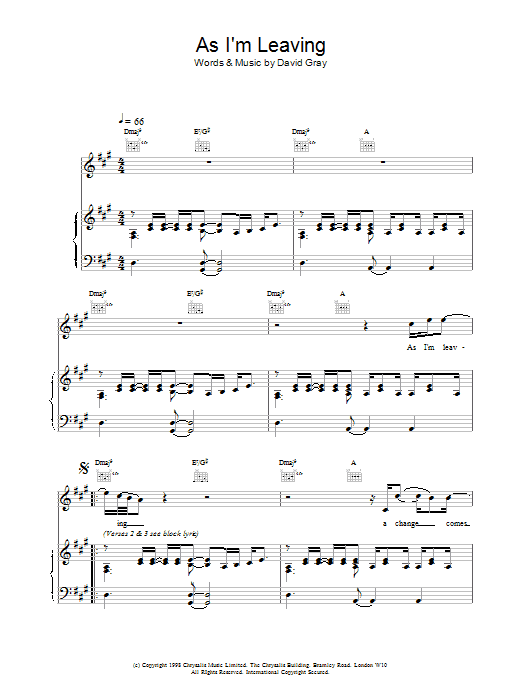 As I'm Leaving sheet music