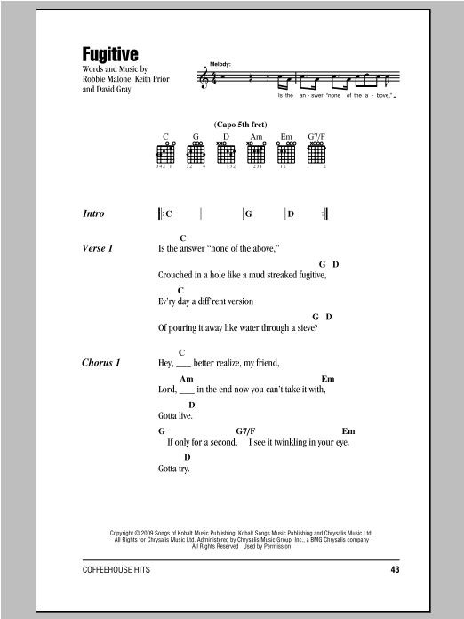 Fugitive sheet music