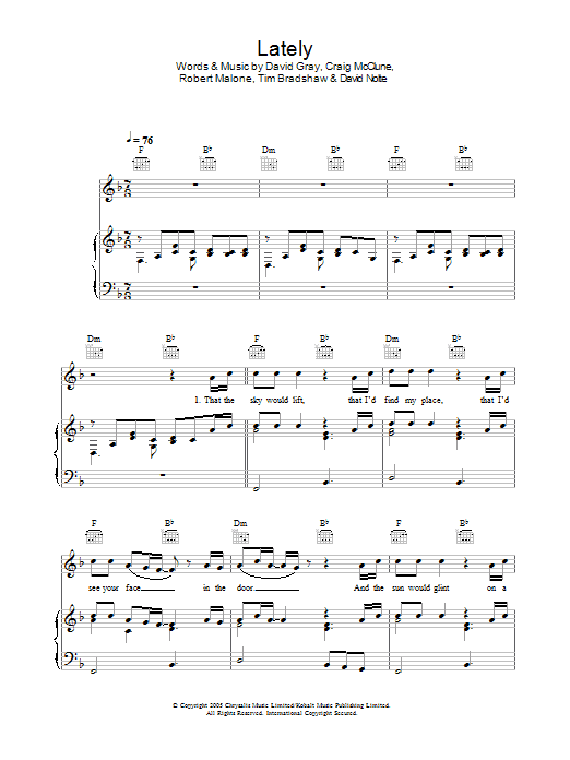 Lately sheet music