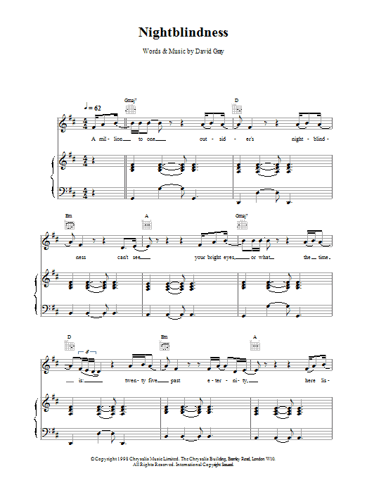 Nightblindness sheet music