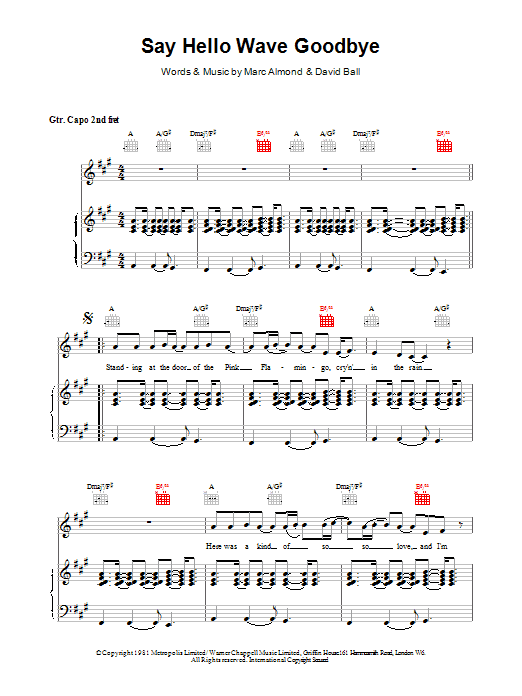 Say Hello, Wave Goodbye sheet music