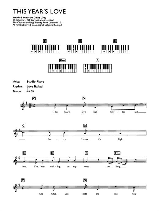 This Year's Love sheet music