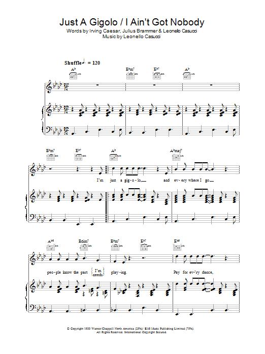 Just A Gigolo / I Ain't Got Nobody sheet music