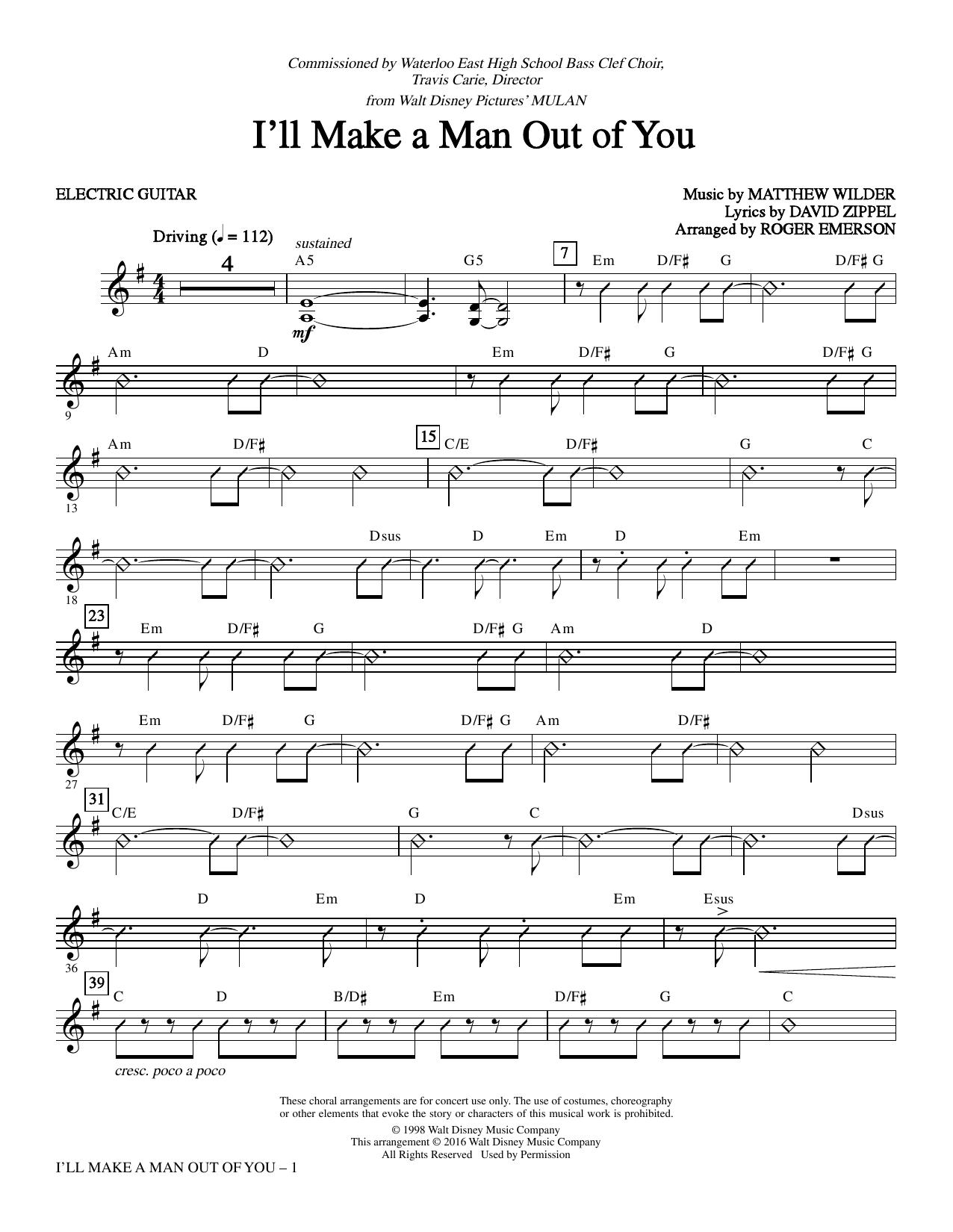 David Zippel 'I'll Make a Man out of You from Mulan arr. Roger Emerson    Guitar' Sheet Music Notes, Chords   Download Printable Choir Instrumental  ...