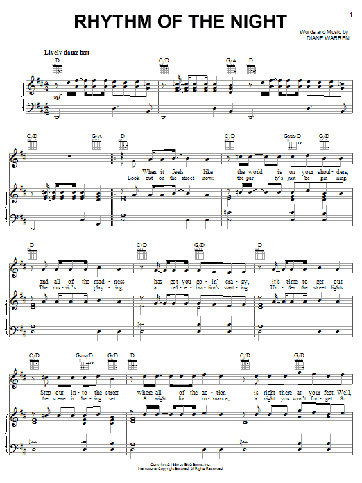 Rhythm Of The Night sheet music