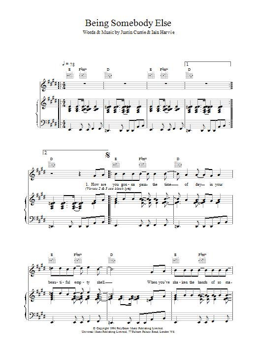 Being Somebody Else sheet music