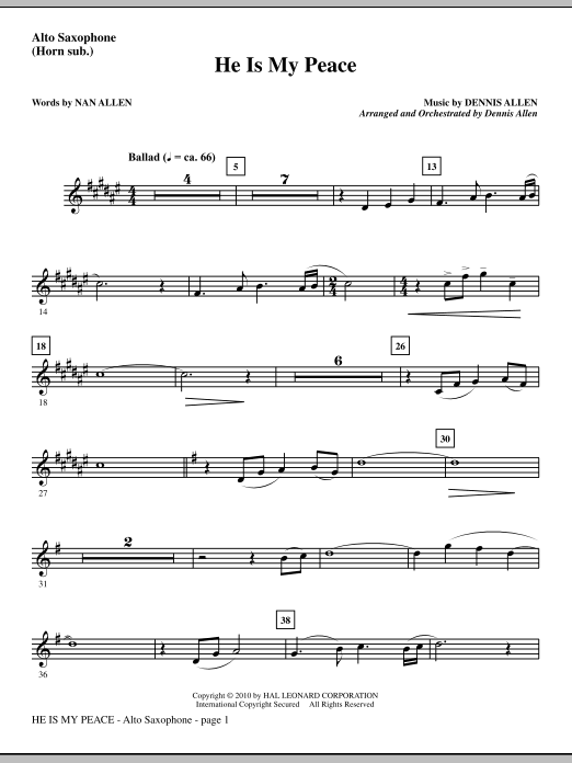 He Is My Peace - Alto Sax (sub. Horn) sheet music