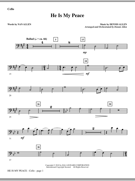 He Is My Peace - Cello sheet music