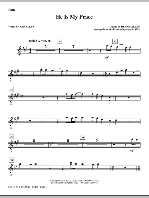 He Is My Peace - Flute sheet music