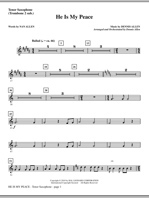 He Is My Peace - Tenor Sax (sub. Tbn 2) sheet music