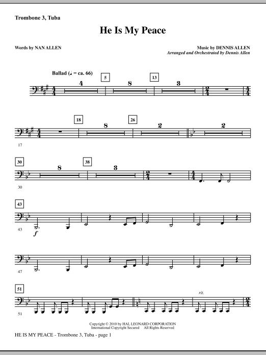 He Is My Peace - Trombone 3/Tuba sheet music