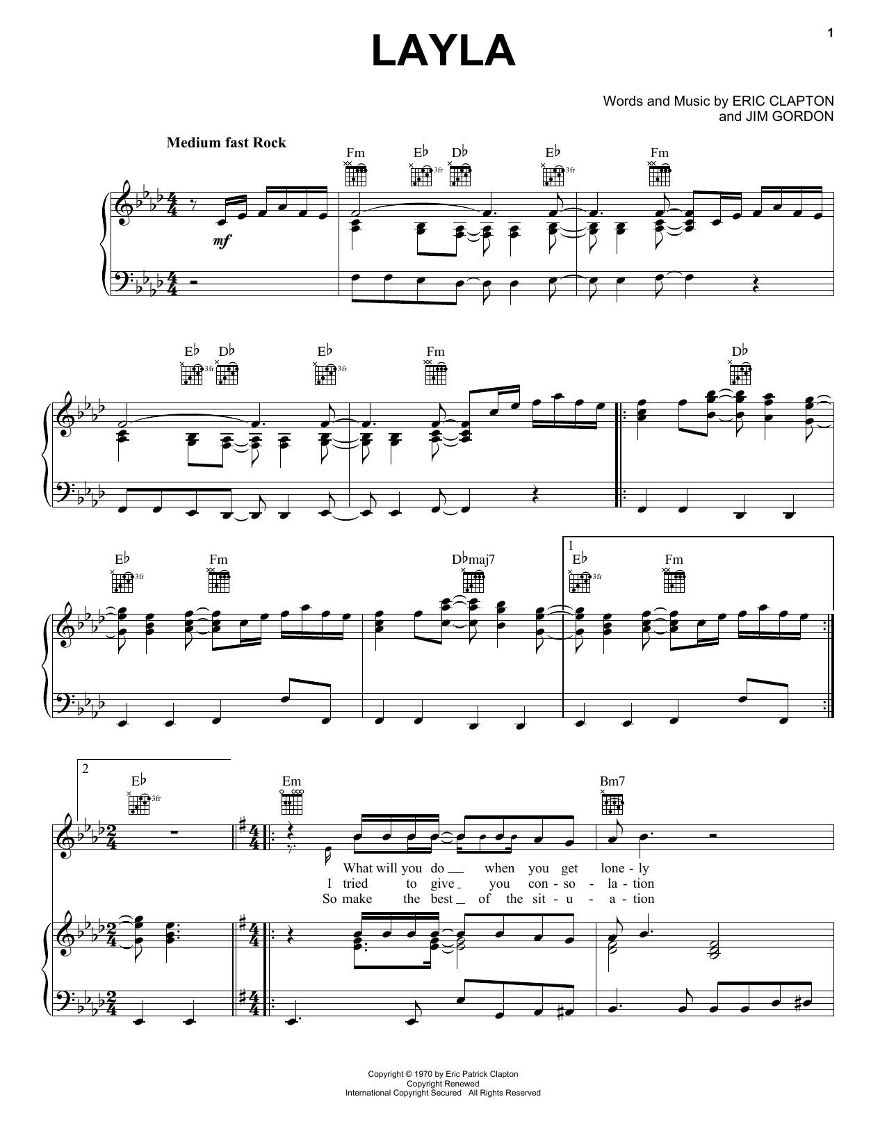 Layla sheet music