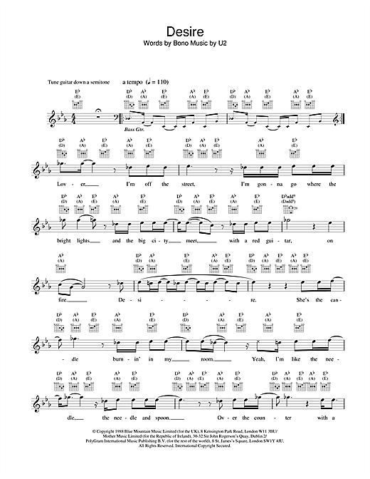 Desire sheet music