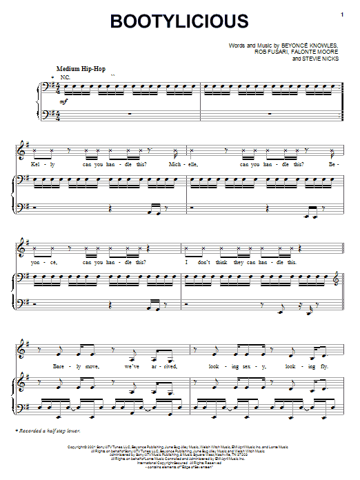 Bootylicious sheet music