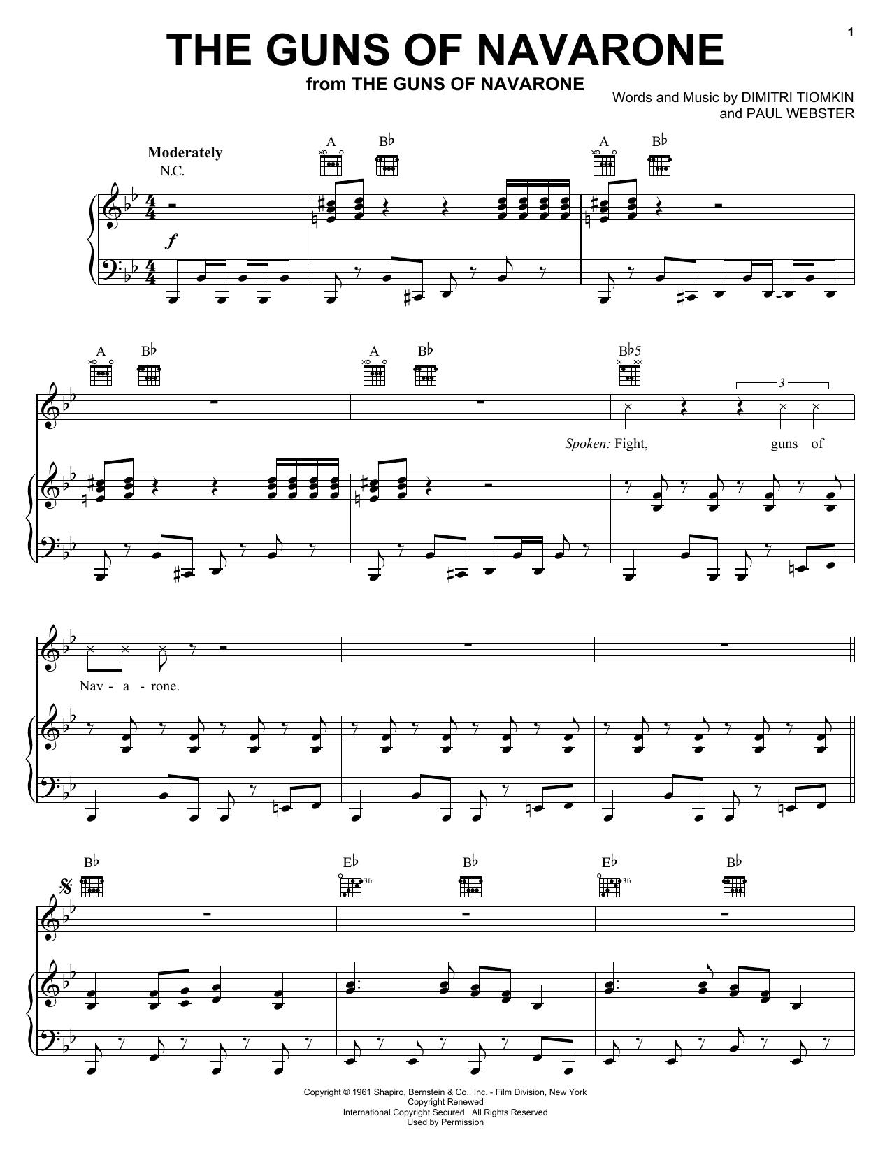 The Guns Of Navarone sheet music